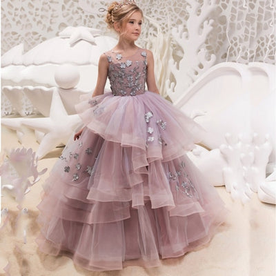 FG66 Tulle O-neck Sleeveless  Ball Gowns Princess Girls  Dress