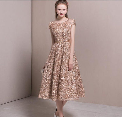 BH46 Embroidery Jacquard A-line Bridesmaid Dress