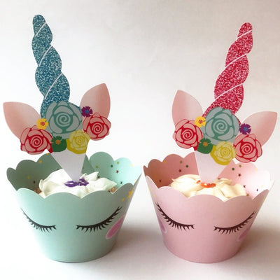 Unicorn Toppers Cake+ Cupcake Wrappers for Wedding and Party Supplies