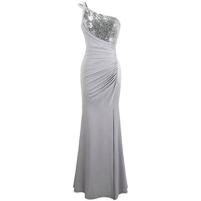 PP76 One Shoulder Pleated Sequin Prom Dress