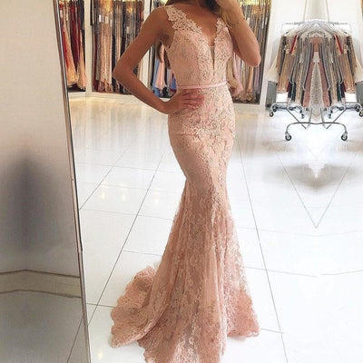 PP51 Appliques Lace Mermaid Evening Dress