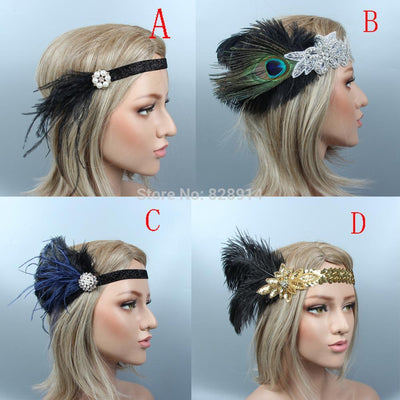 BJ55 Great Gatsby Feather Headband (4 Styles)