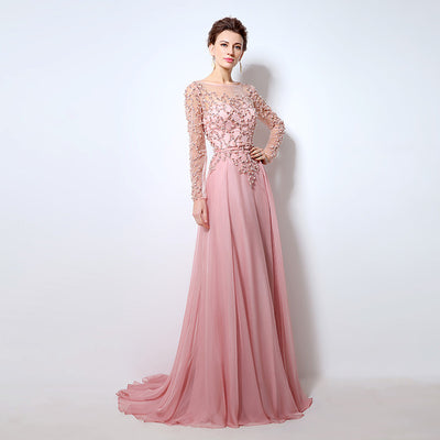 Long Sleeves Pearls beaded Evening Dresses (5 Colors)
