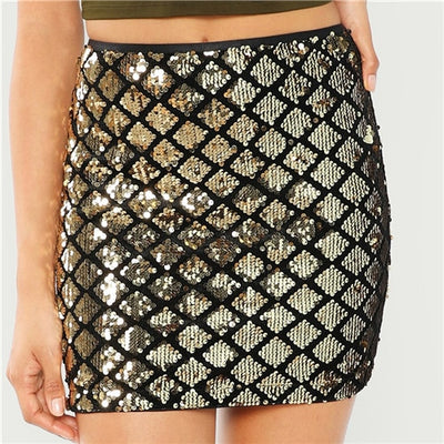 CK15 Gold Sequin Mini Skirts