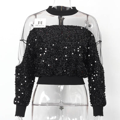 TJ64 Summer Long Sleeve Mesh Sequin Tops (4 Colors)