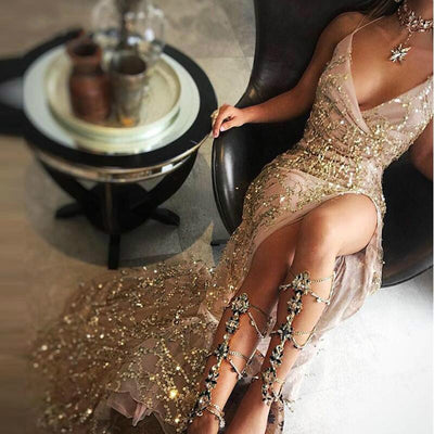 MX31 Sexy Deep V Neck Gold Sequin high split Party Dress