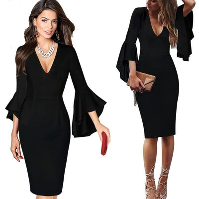 Casual  flare sleeve Bodycon Dresses ( 7 Colors)