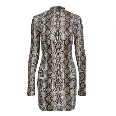 MX22 Summer Long sleeve Snake Print Mini Dresses