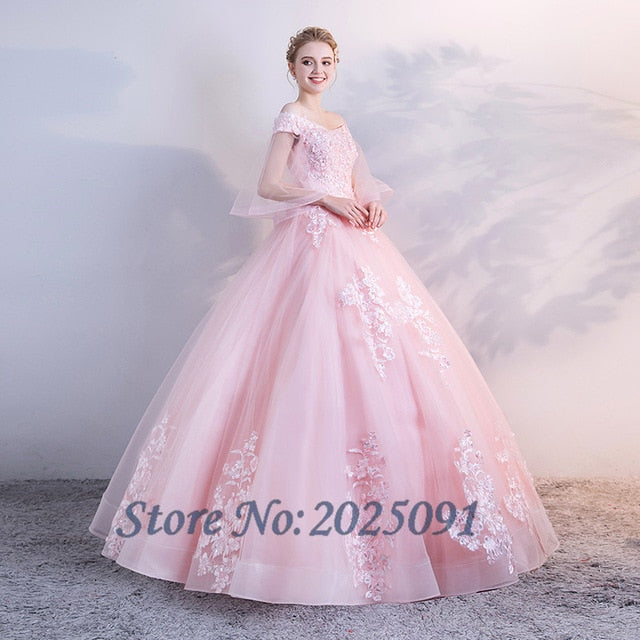 Plus size Pink Tulle with Lace Appliques Quinceanera Dress