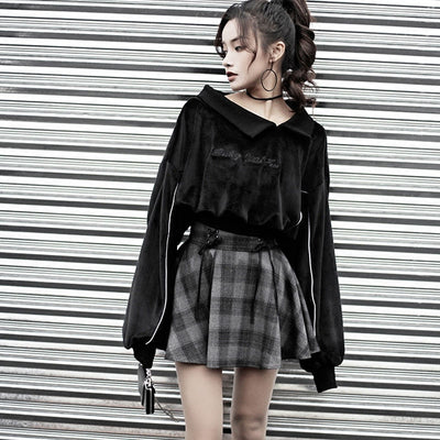 CK18 Set Gothic Velvet Sweatshirt with High Waist Skirt