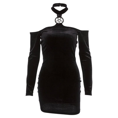 MX72 Gothic Punk  Halter Bodycon Dress