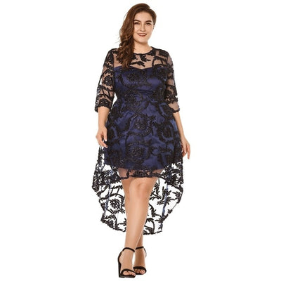 MX134 Plus Size 3/4 Sleeve High-Low Hem Party Dress(Beige/Black)