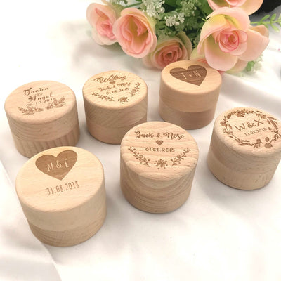 Customize Name wooden Wedding Ring Box Holder(11 syles)