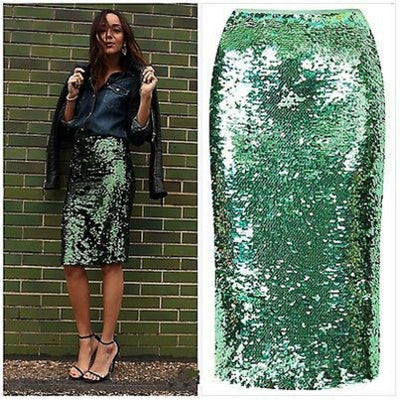 CK17 Green Sequins  Pencil Skirt
