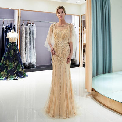 Crystal Sequins Beaded Long Mermaid Evening Gown