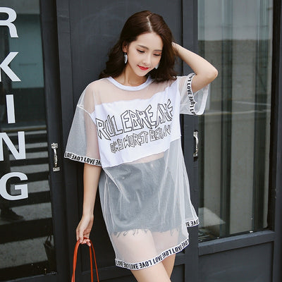 TJ15 Summer Kpop Mesh T- Shirt For Women (4 Styles)