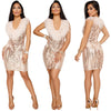 MX86 Deep V Neck Sequins Feather Party Dresses(3 Colors)