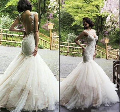 CW22 Plus Size Embroidery Mermaid Wedding Dress