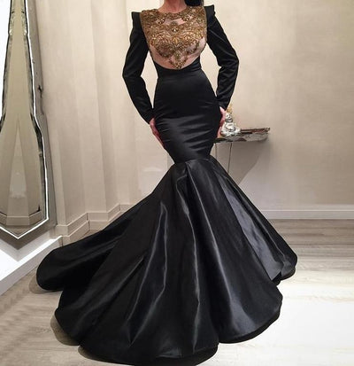 Muslim Appliques Beaded Ruffles Evening Dress