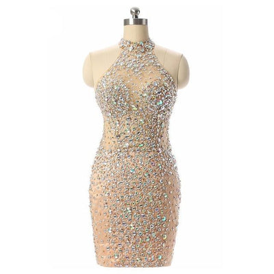 LG35 high neck beaded cocktail dress
