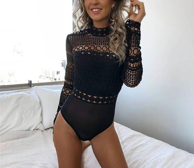 JR12 Black Lace Hollow Out Bodysuit