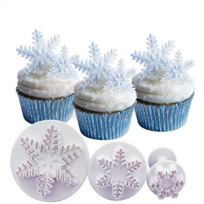 Set of cake tools Snowflake plastic for DIY Wedding & Party