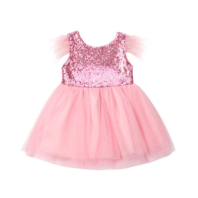 FG74 Tulle Sequins feathers Princess Girl Dresses (3 Colors)