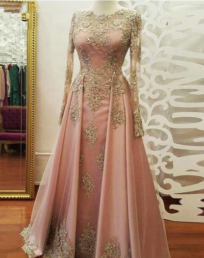 Muslim Pink Beaded Prom Gowns