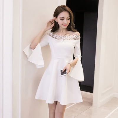 MX29 Off the Shoulder Lace Dresses(Black/White)