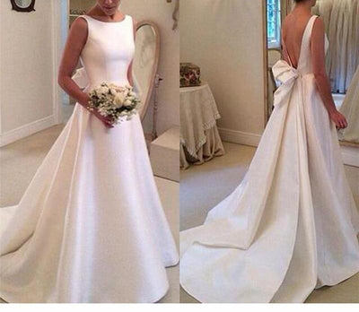 CW01 Plus size Satin A-Line Backless Bow Wedding Gown