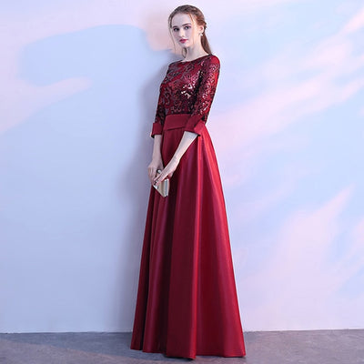 PP187 Satin 3/4 sleeve A Line Sequins Red Carpet Dresses (6 Colors)