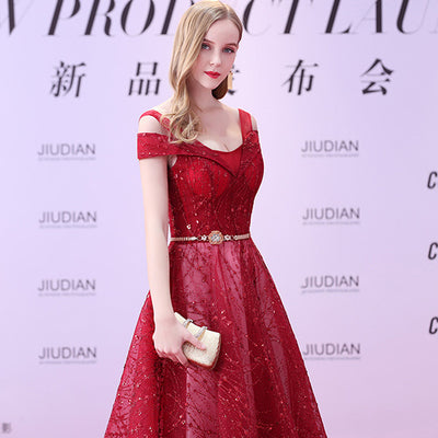 PP176 A Line V Neck Lace Up Open Back Red Carpet Dresses (4 Colors)