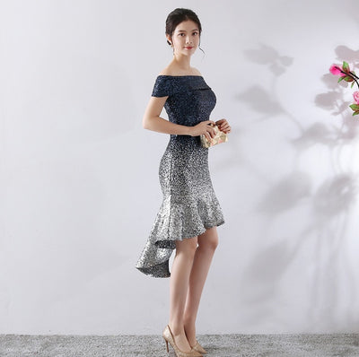 PP145 Boat Neck sequin Cocktail Dresses(2 Colors)