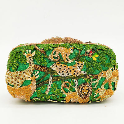 CB14 Bling Animal in Forest crystal Bridal Clutch Bag (4 Colors)