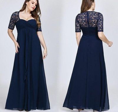 Cheap Plus Size Navy Blue Lace Evening Dress