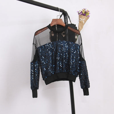 TJ38 Long sleeve sexy Sequins Women Blouse