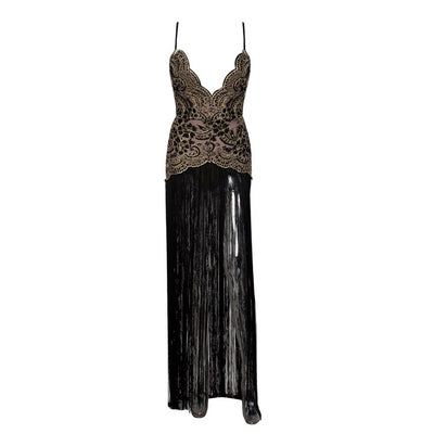 MX57 Deep V neck Tassel Night Party Dresses (Black /Khaki)