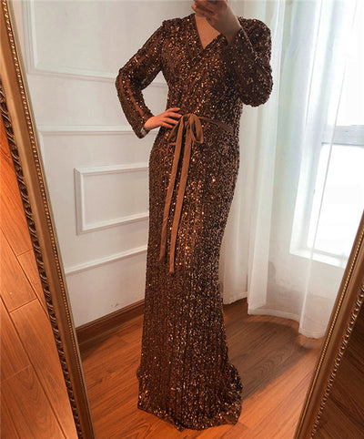 Stunning Long Sleeve V neck Evening Gowns