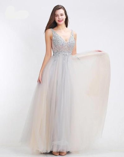 Tulle V-Neck crystals Beaded  Prom Dresses (5 Colors)