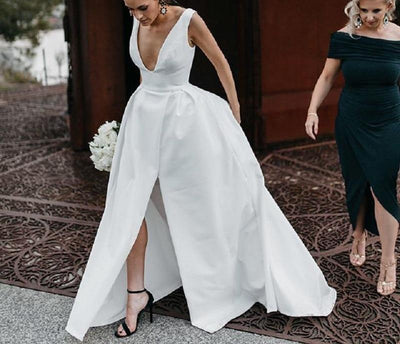 CW67 Simple satin Split front  Bridal Gown
