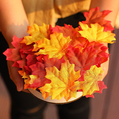 Artificial Maple Leaves 100pcs/lot for DIY Wedding Decor