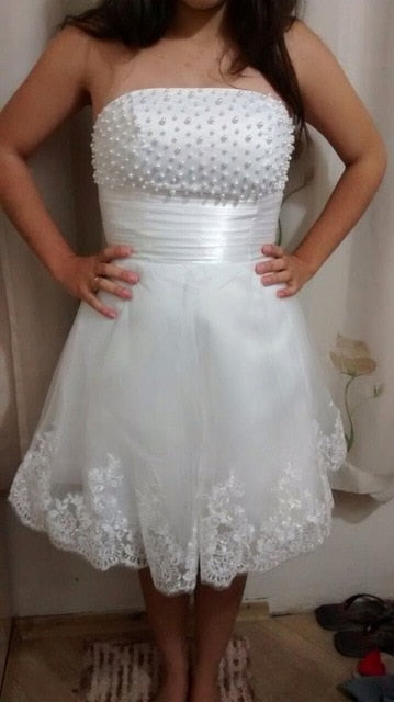 SS66 Pearls Beaded A Line Short Wedding Dress