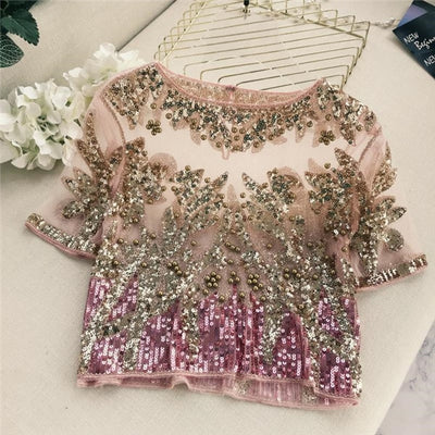 TJ39 Sequined Patchwork Women Tops ( 3 Colors)