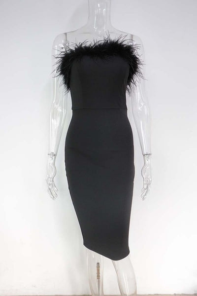 MX79 Black strapless with feather bodycon Celebrity Dress