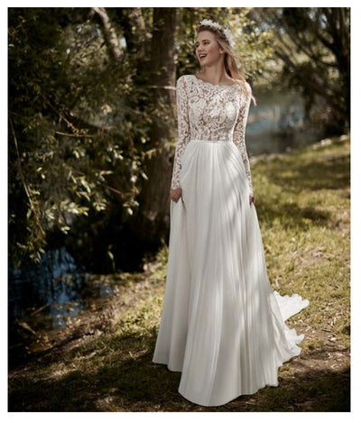CW123 Plus size Vintage Long Sleeves Boho Wedding Dress