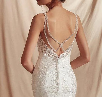 Spaghetti Straps lace  sexy back Mermaid Wedding Dresses