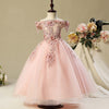 FG26 Princess boat neck lace Flower Girl Dress(3 Colors)