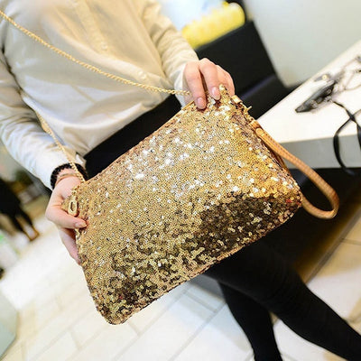 CB110 Envelope shaped sequin Party Clutch Bags (Gold/Silver/Black)