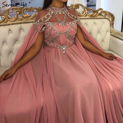 Arabic Pink High Collar Evening Dresses