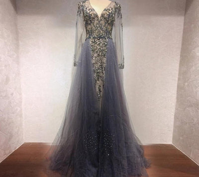 Sexy V Neck Fully rhingestone Beaded Evening Gowns (3 Colors)